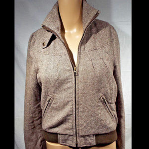 Heritage wool grey woven ski jacket sz L